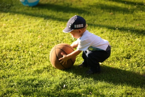 baby, toddler, basketball, player, grass, baseball, ball, sport, game, active