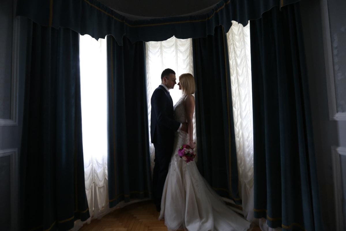 bryllup, bryllupskjole, Salon, kone, mand, bruden, folk, gardin, vindue, teater