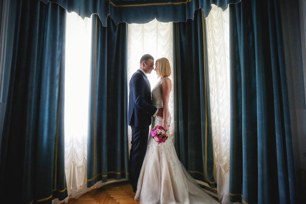 婚纱, 客厅, 魅力, 妻子, 丈夫, 仪式, 人, 婚礼, 歌剧, 新娘