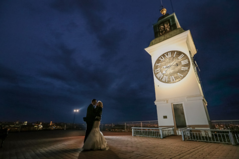 husband, bride, spotlight, tower, nightlife, analog clock, landmark, building, clock, architecture