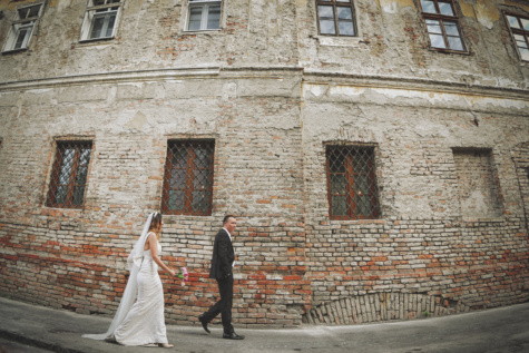 groom, bride, decay, walking, building, abandoned, old, brick, wall, ancient