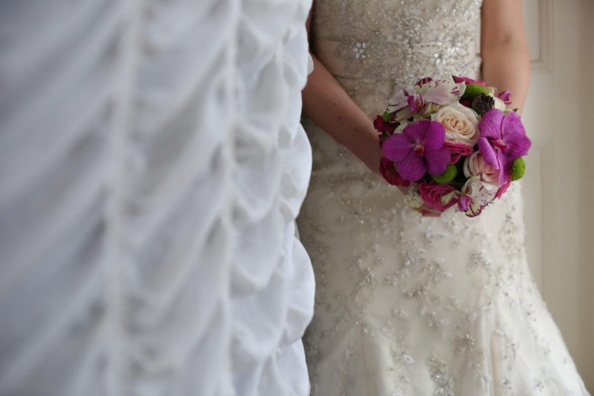 wedding, wedding bouquet, wedding dress, hands, outfit, dress, flower, bouquet, bride, engagement