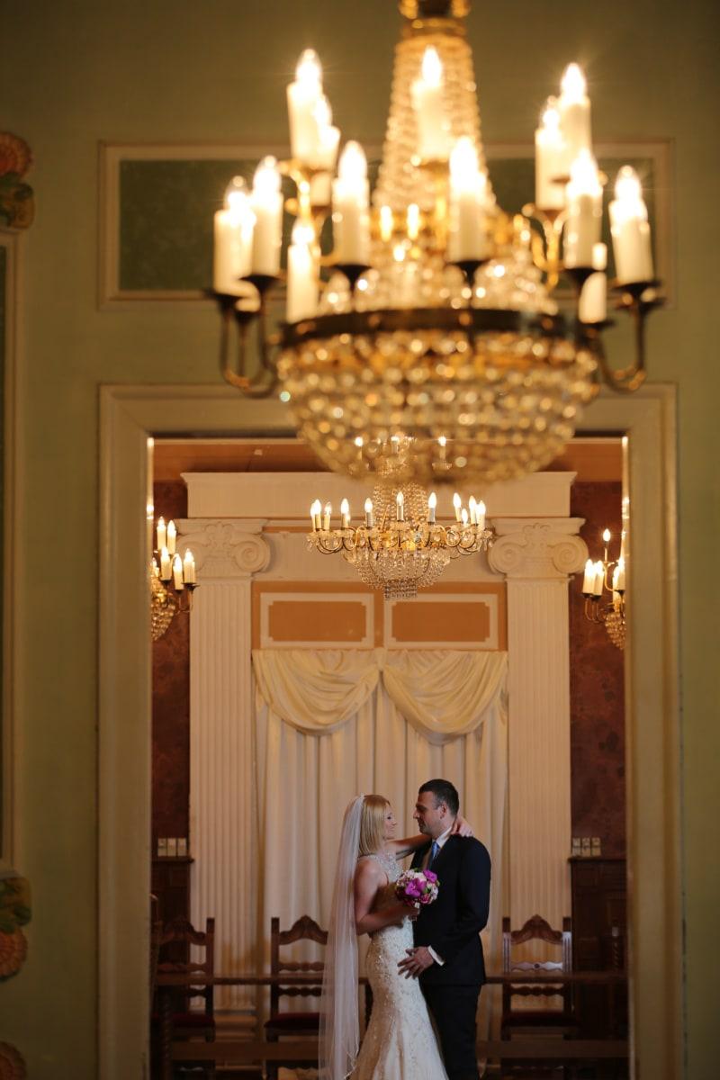 남편, 아내, 댄스, 샹들리, 럭셔리, 아키텍처, 웨딩, 빌딩, 인테리어 디자인, 실내