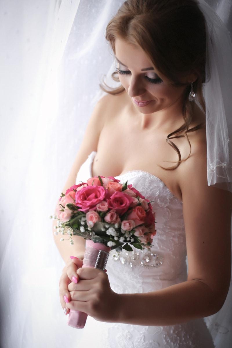 magnifique, la mariée, joli, Brunette, bouquet de mariage, robe de mariée, mariage, femme, jeune marié, fleur