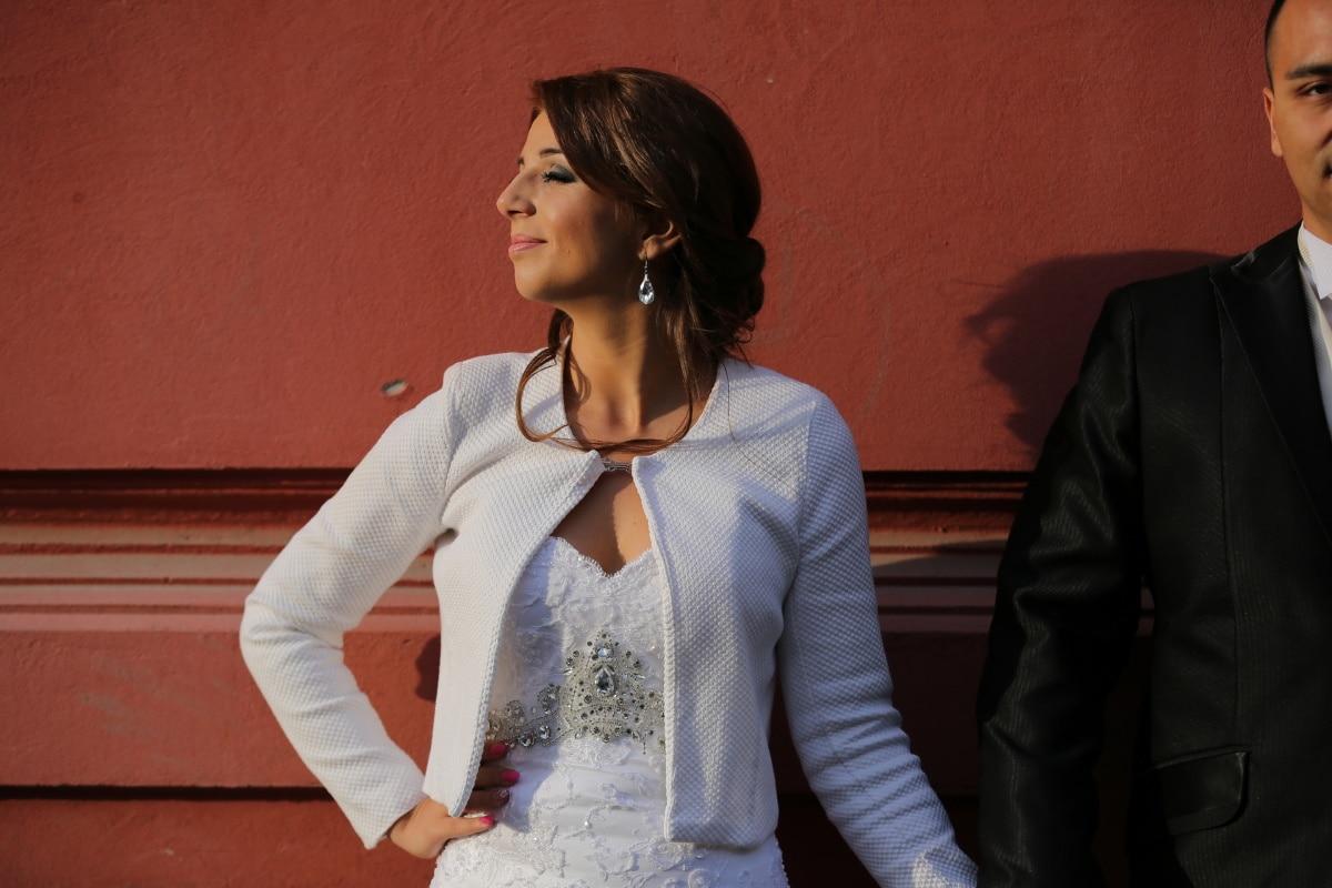 Gelin, çekici, düğün elbisesi, şirin, damat, zevk, esmer, kişi, oldukça, portre