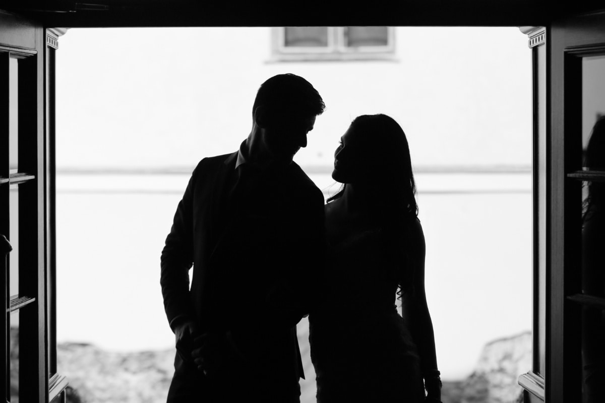 affection, boyfriend, joy, monochrome, girlfriend, man, people, portrait, couple, woman