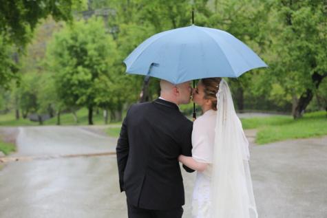bacio, ombrello, moglie, sposo, sposa, marito, vestito, matrimonio, matrimonio, felicità
