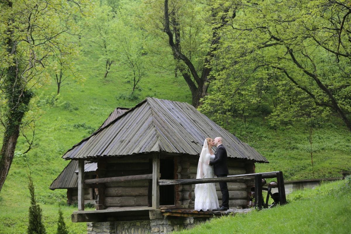 cottage, landscape, wife, kiss, bride, husband, village, building, shed, structure