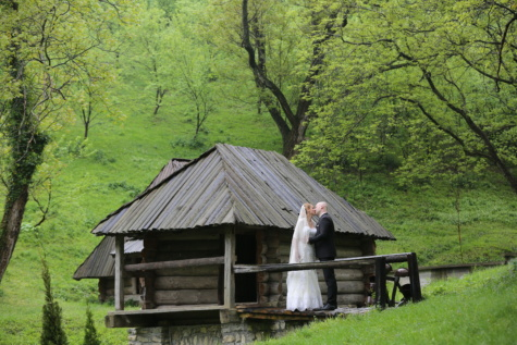 cottage, landscape, wife, kiss, bride, husband, village, building, shed, structure