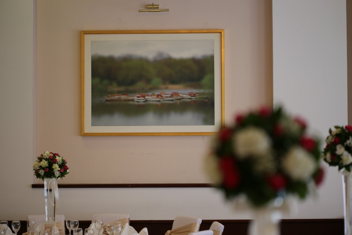 picture, fine arts, wall, frame, dining area, interior, room, flower, home, indoors
