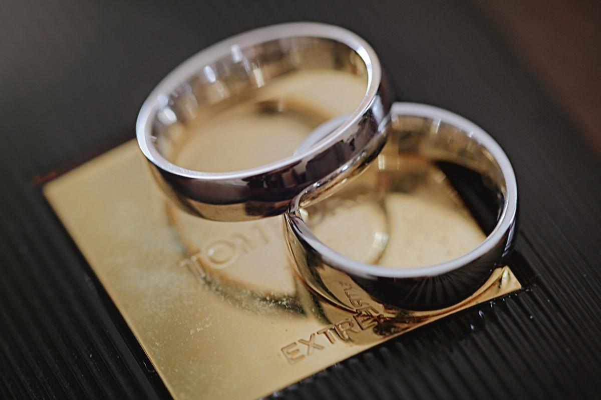 pierścienie, Obrączka ślubna, błyszcząca, zbliżenie, makro, świecący, Platyna, Biżuteria, pomieszczeniu, brązowy