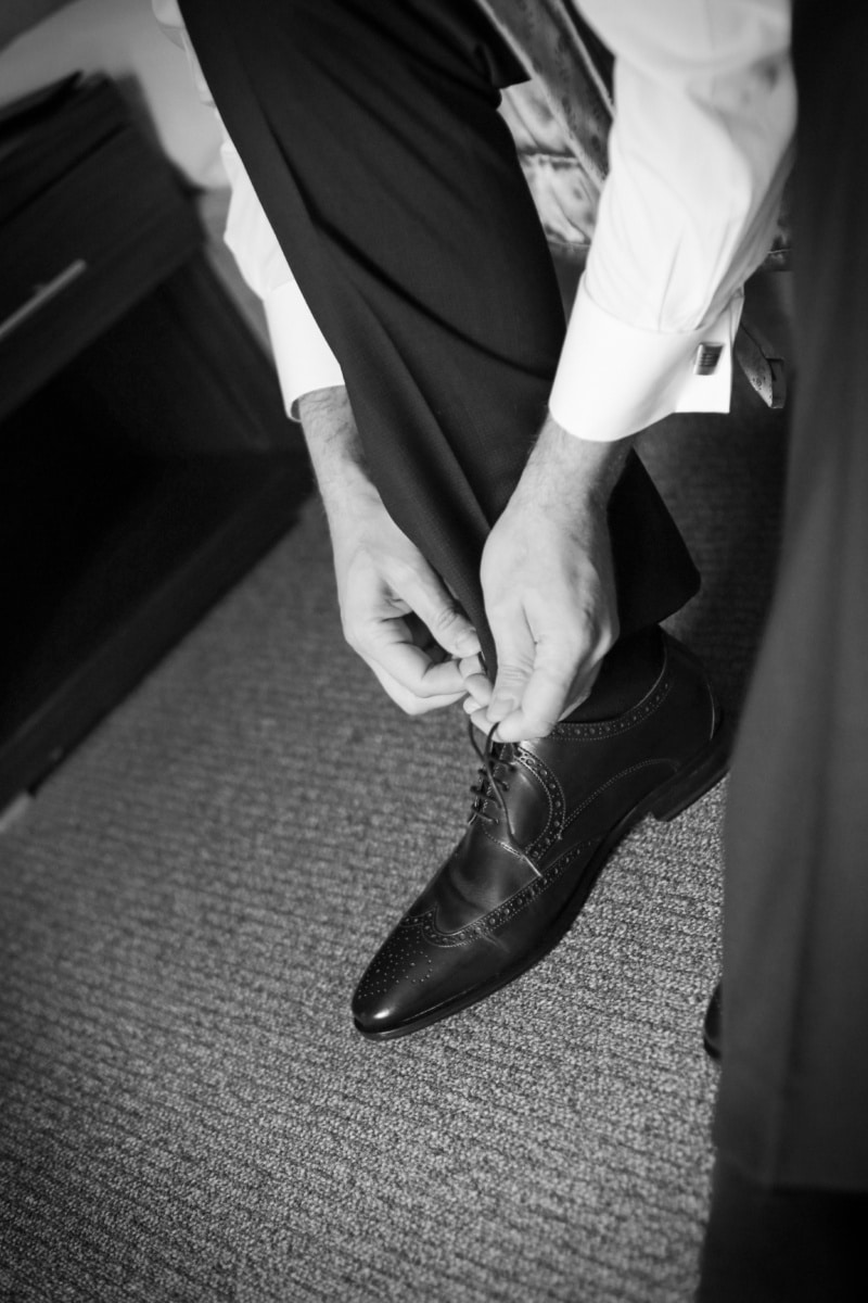 elegant, man, black and white, shoes, shoelace, leg, sock, outfit, pants, people
