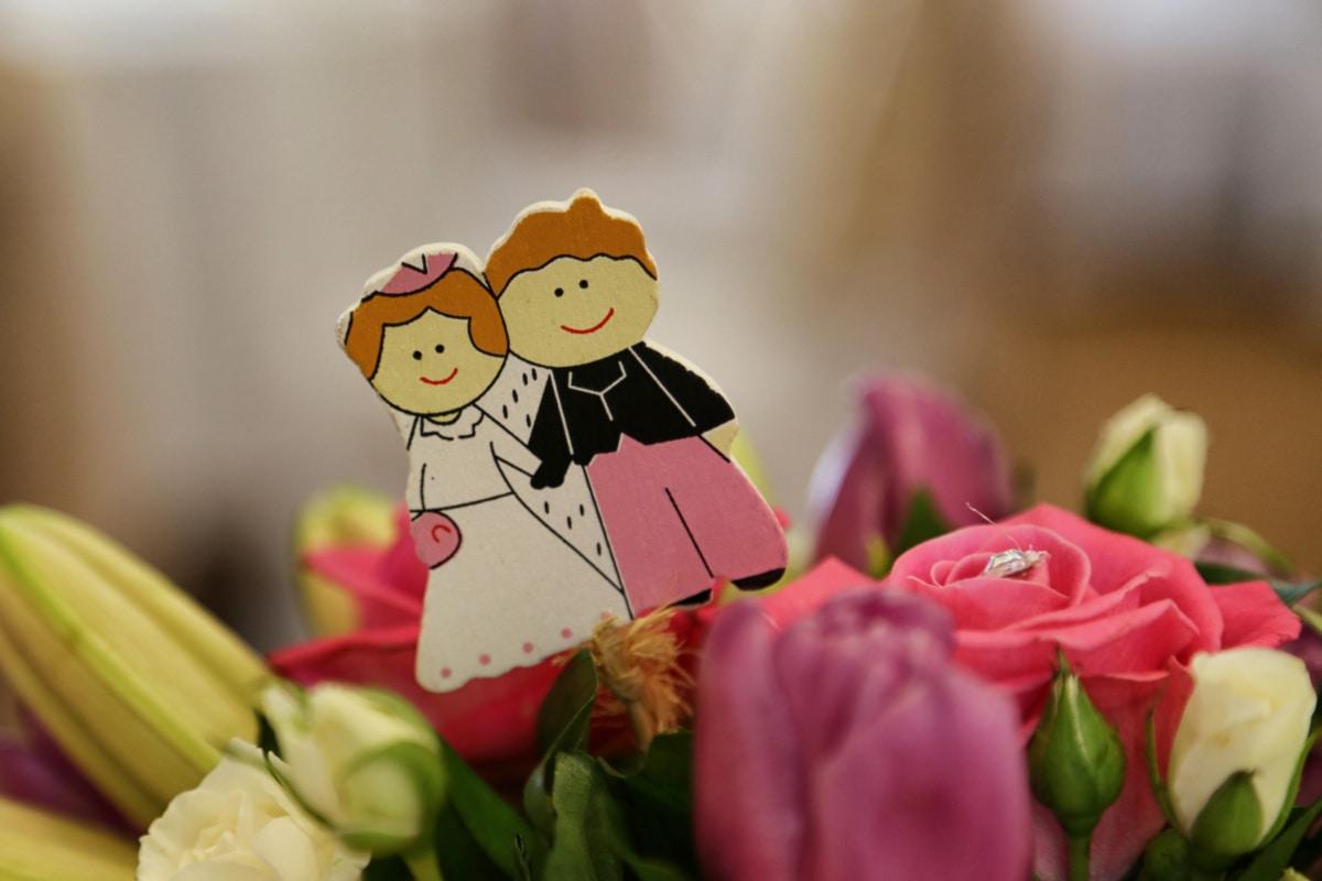 bouquet, groom, miniature, bride, decoration, arrangement, flowers, flower, rose, happy