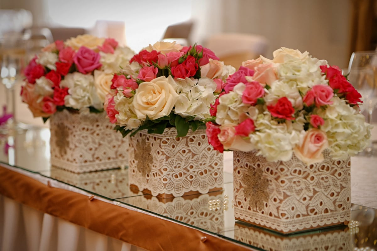 interior decoration, bouquet, arrangement, mirror, table, decoration, confectionery, wedding, romance, interior design