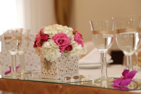 Weißwein, Champagner, Trinken, Anordnung, Geschenke, Blumenstrauß, Zeremonie, Hochzeit, Glas, Alkohol