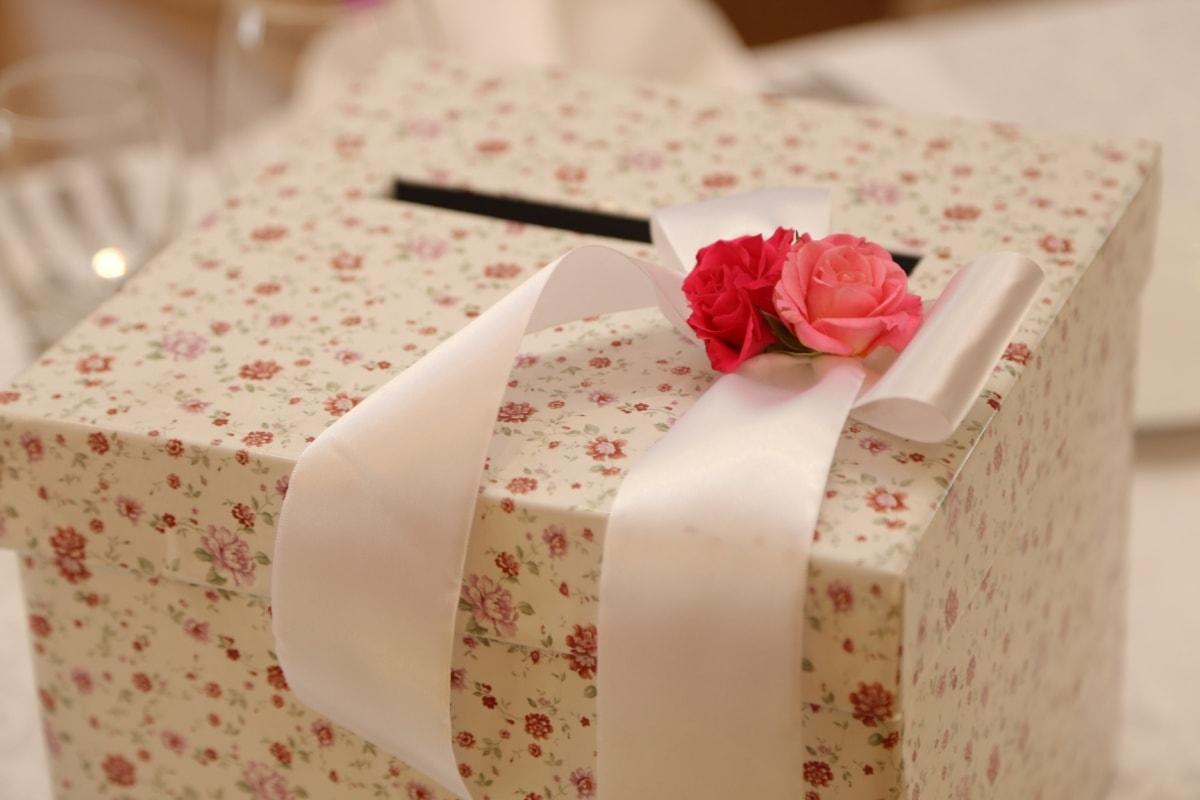 birthday, gift, box, ribbon, rose, surprise, silk, interior design, romance, indoors