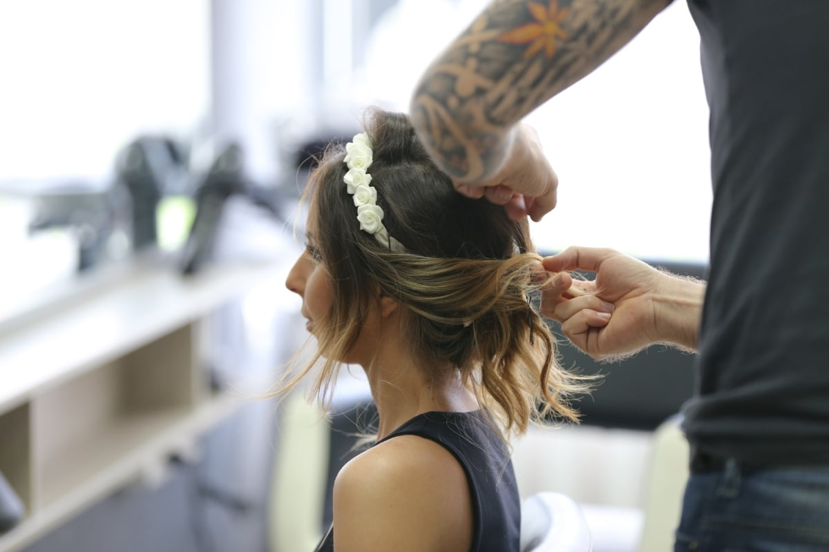 hairstyle, hairdresser, service, salon, pretty girl, shop, tattoo, person, attractive, people