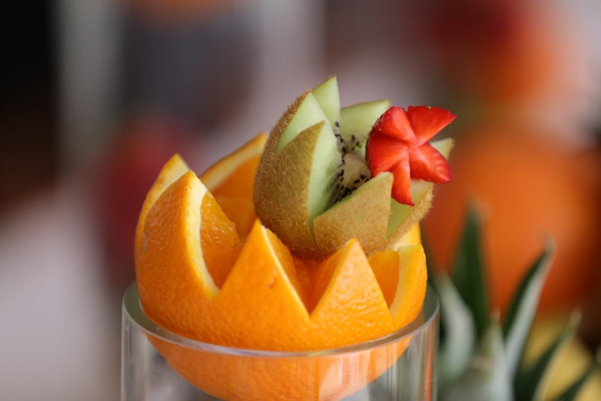 fruit cocktail, strawberries, kiwi, oranges, appetizer, tasty, carvings, fruit, mandarin, citrus