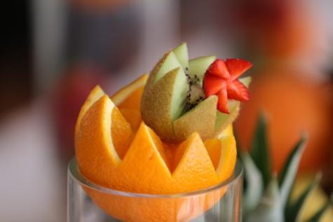 ovocný koktejl, jahody, Kiwi, pomeranče, předkrm, chutné, řezbářské práce, ovoce, mandarinka, citrusové