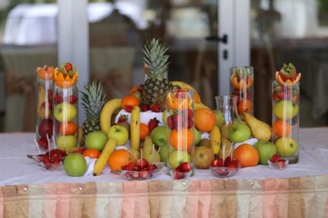 フルーツ, デザート, ビュッフェ式, イチゴ, パイナップル, 配置, 健康的です, 栄養, 野菜, 林檎