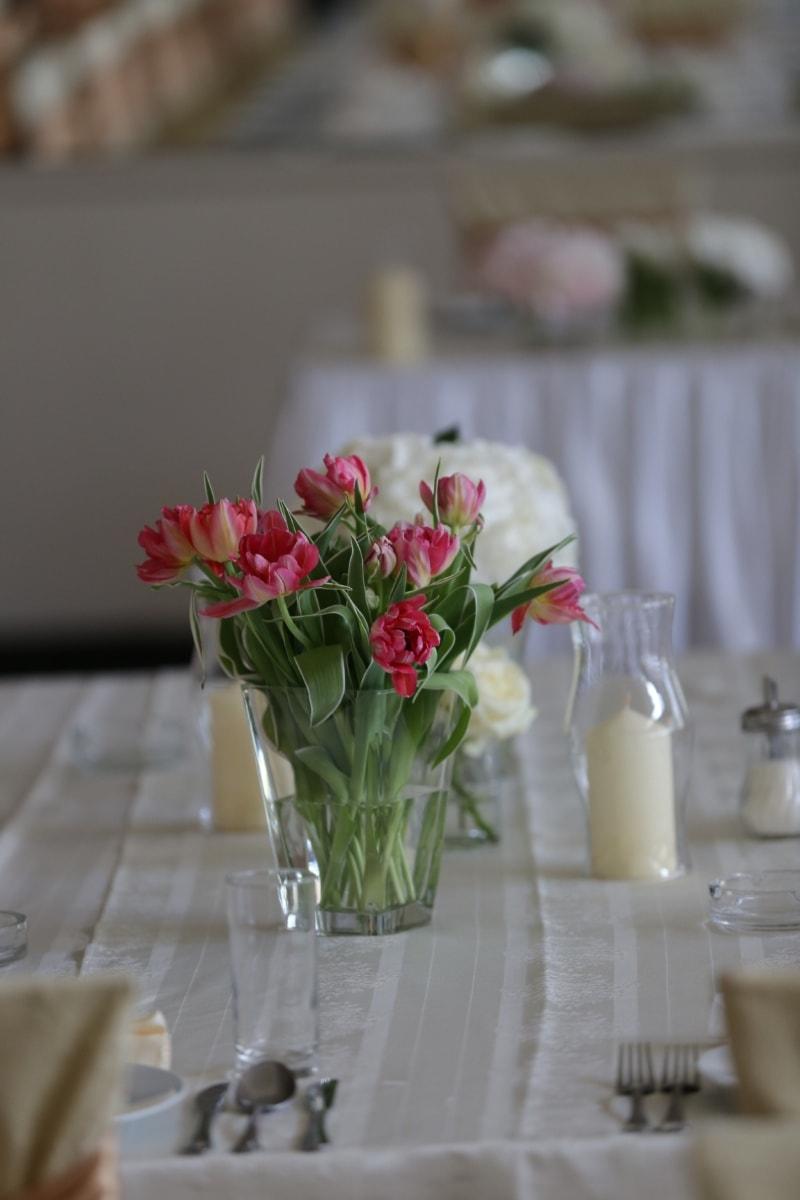 vase, interior decoration, candles, candlestick, tulips, dining area, bouquet, flower, arrangement, jar