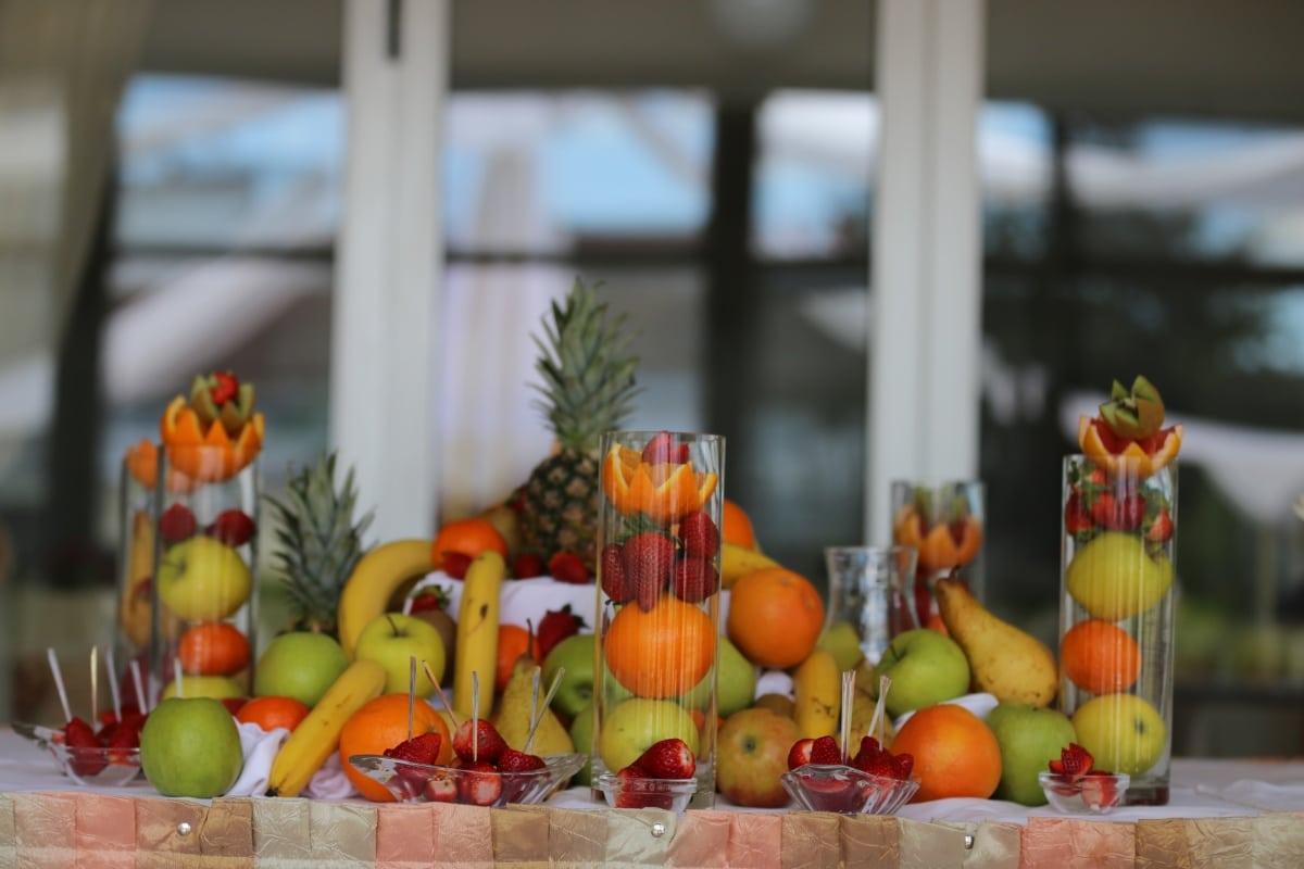 fruit, buffet, lime, oranges, citrus, banana, apples, lemon, pineapple, strawberries
