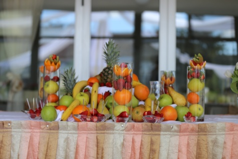 buffet, banquet, fruit, citrus, strawberries, pineapple, fruit juice, produce, indoors, apple