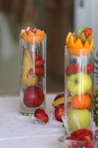 fruit, glass, strawberries, apples, pears, orange peel, oranges, food, fresh, cold