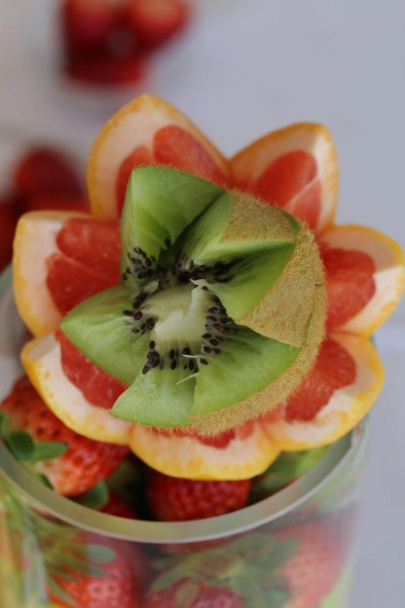 Kiwi, frugtsaft, frugt cocktail, appelsiner, appelsinskal, frisk, dessert, frugt, jordbær, mad
