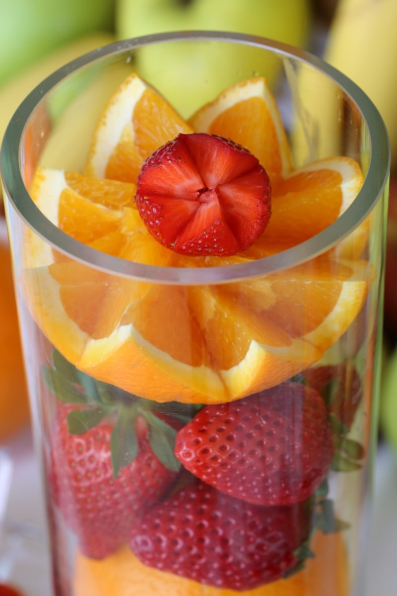 fruit, strawberries, oranges, fruit cocktail, orange peel, healthy, glass, vitamin, food, citrus