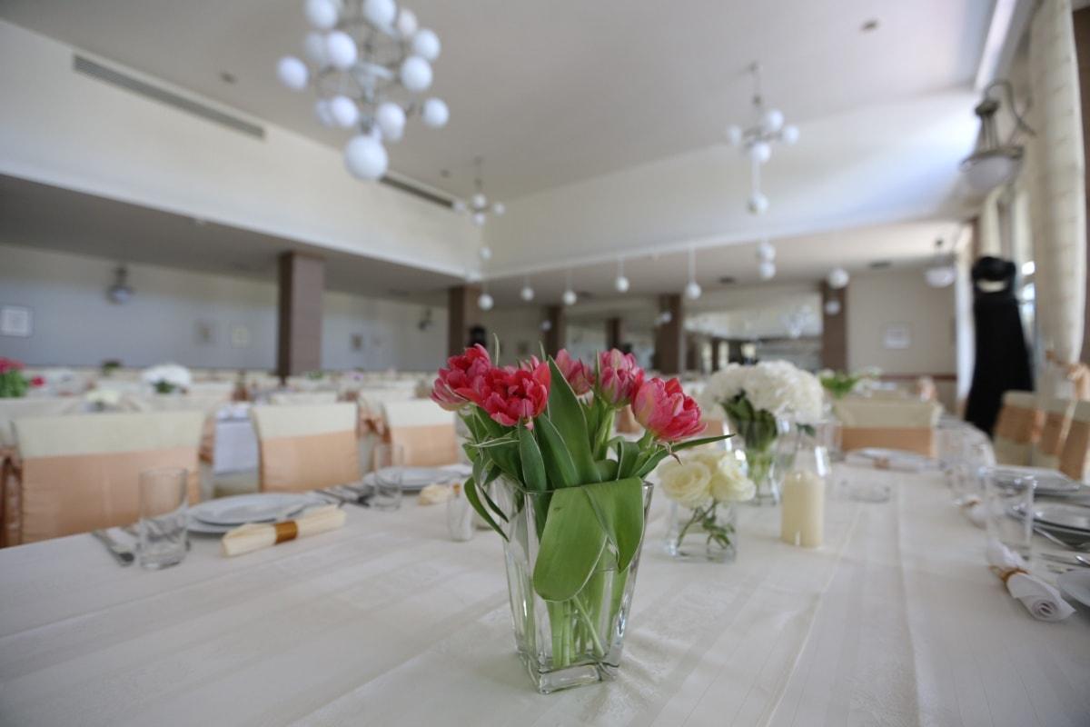 carnation, flowers, lunchroom, dining area, hotel, vase, furniture, indoors, luxury, dining