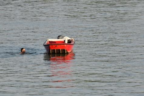 översvämning, räddningsinsatsen, båt, rädda, man, simmare, simning, fordon, vatten, sjön