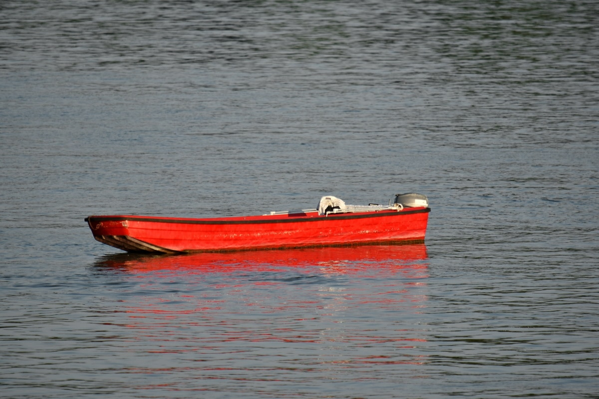 red, boat, motorboat, floating, water, paddle, canoe, lifeboat, transportation, transport
