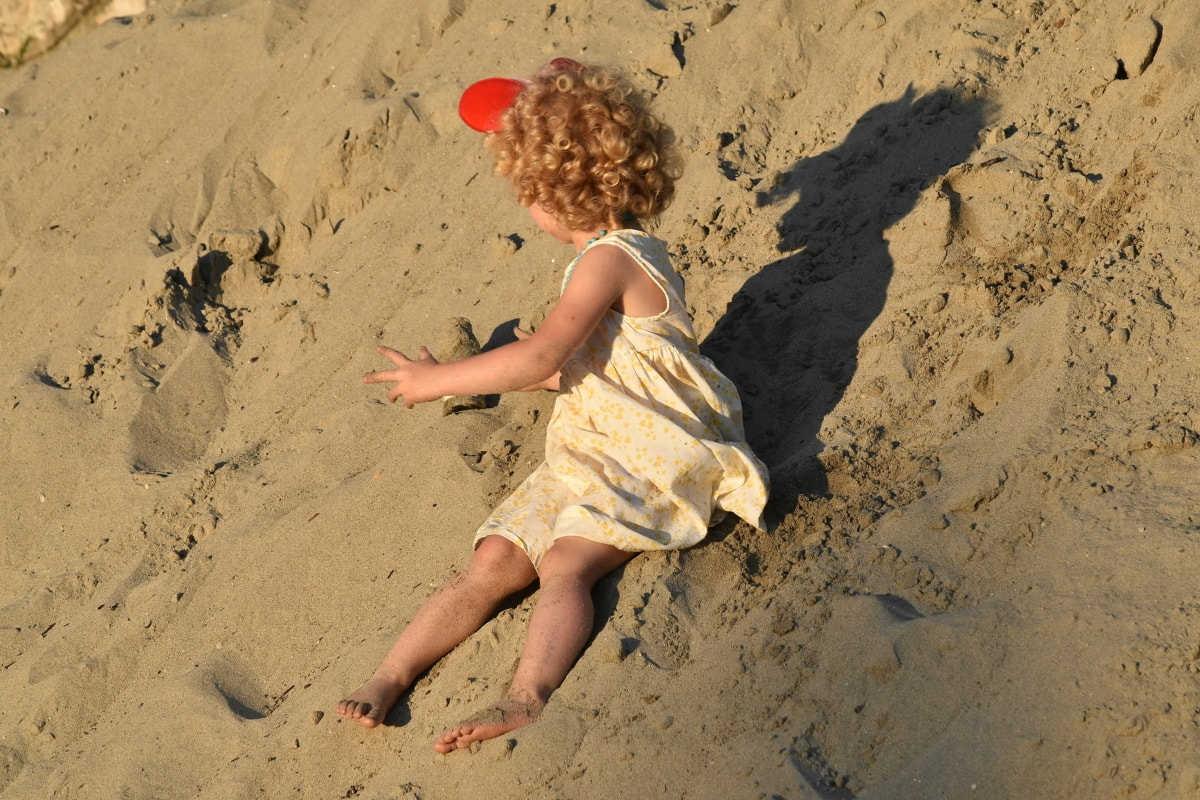 child, summer time, dress, pretty girl, hairstyle, gorgeous, sand dune, sand, blonde hair, soil
