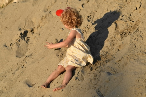 dziecko, czas letni, sukienka, Ładna dziewczyna, fryzurę, wspaniały, wydmy, piasek, blond włosy, gleby