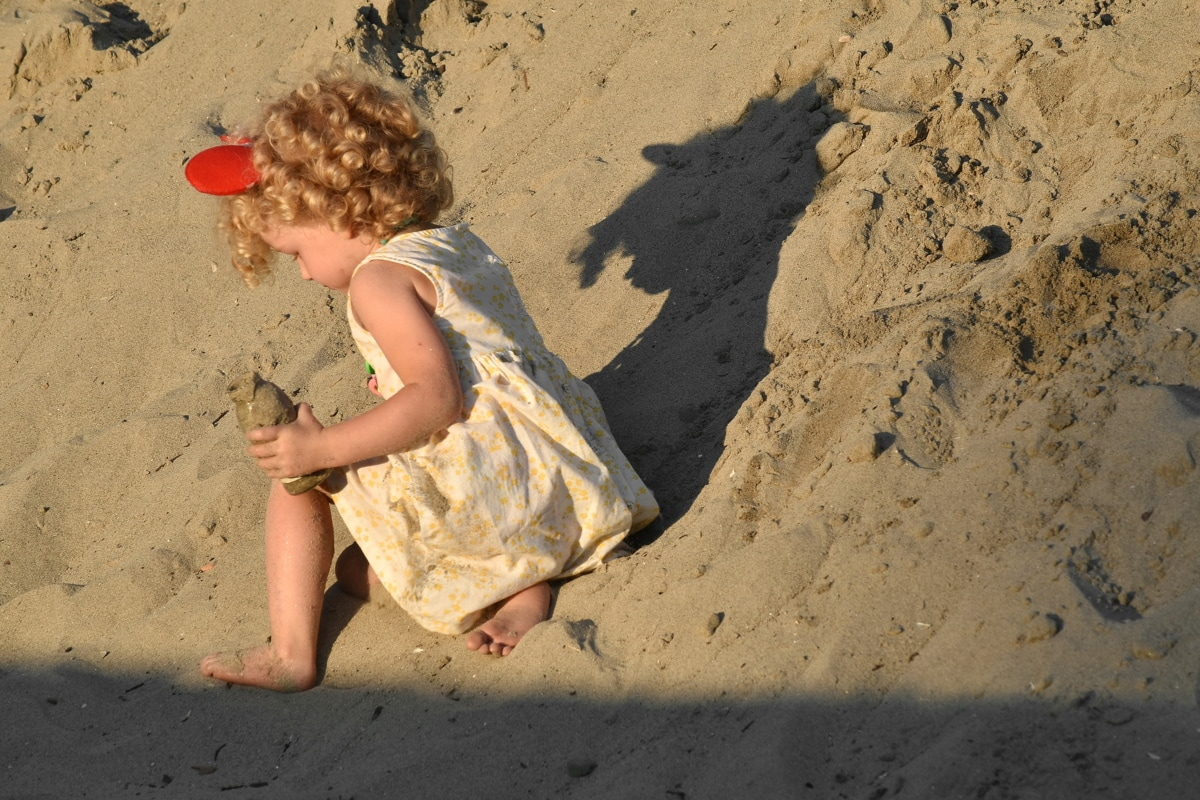 playground, sand, playful, pretty girl, child, girl, dress, relaxation, soil, beach