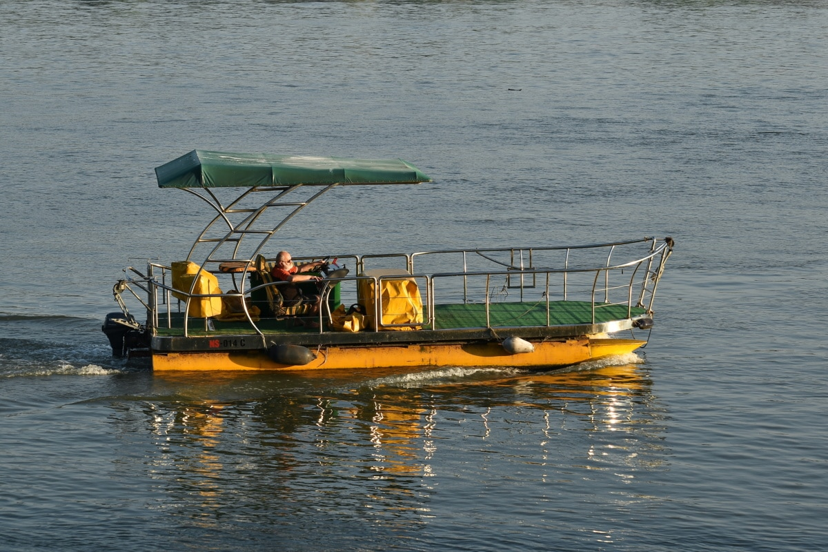 motorboat, vehicle, recreation, river, man, Danube, sunshine, boat, fisherman, water