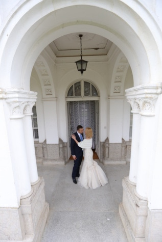 residence, front porch, entrance, hug, estate, wife, front door, husband, palace, wedding dress