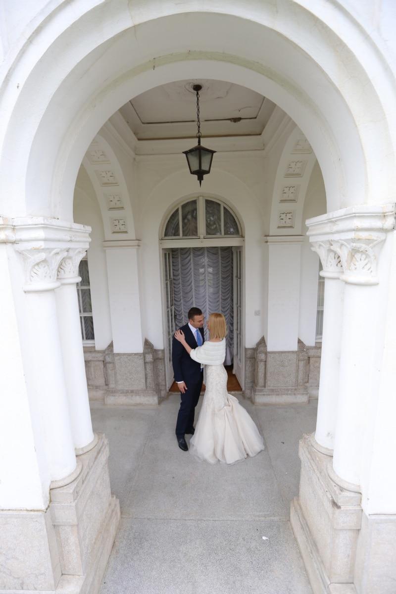 residence, front porch, entrance, hug, estate, wife, front door, husband, palace, wedding dress
