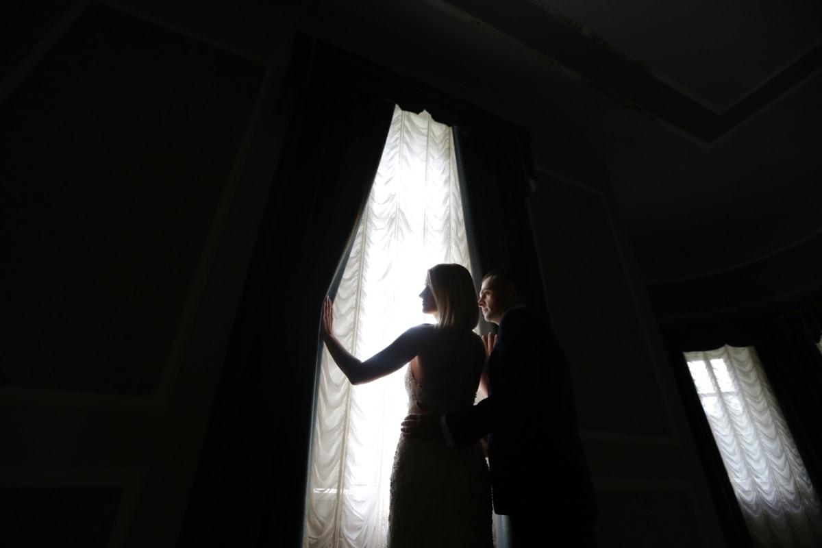 darkness, man, light, wife, curtain, window, wedding, model, groom, portrait