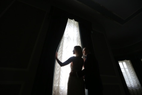 darkness, man, light, wife, curtain, window, wedding, model, groom, portrait