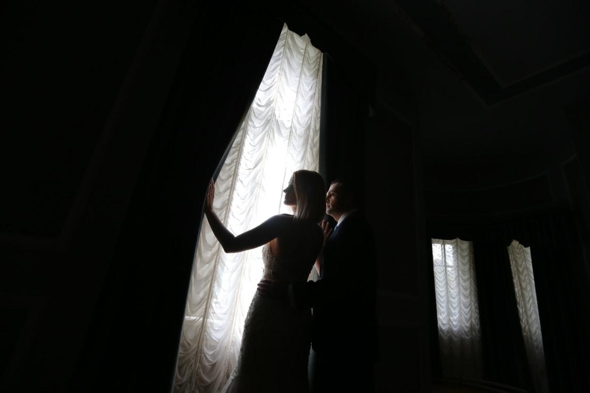 husband, shadow, wife, curtain, outflow, fashion, groom, wedding, portrait, bride