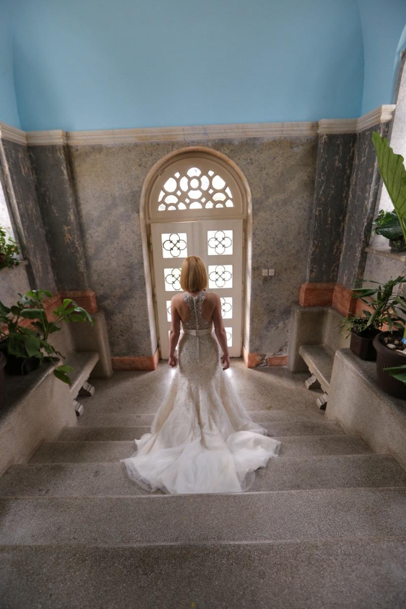 dress, gorgeous, pretty girl, stairway, front door, entrance, bride, wedding, church, architecture