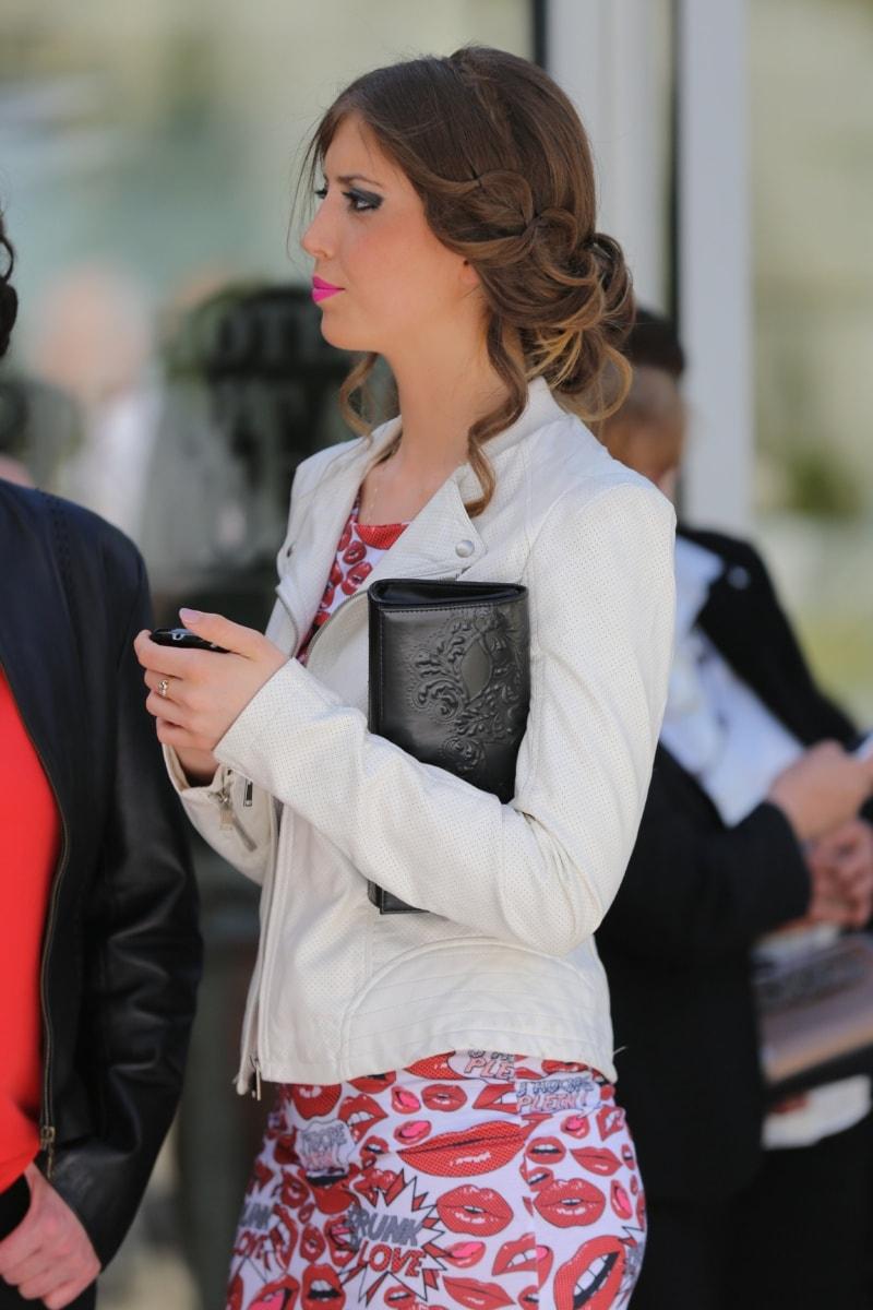 handbag, pretty girl, glamour, hairstyle, dress, side view, fashion, elegance, woman, businesswoman