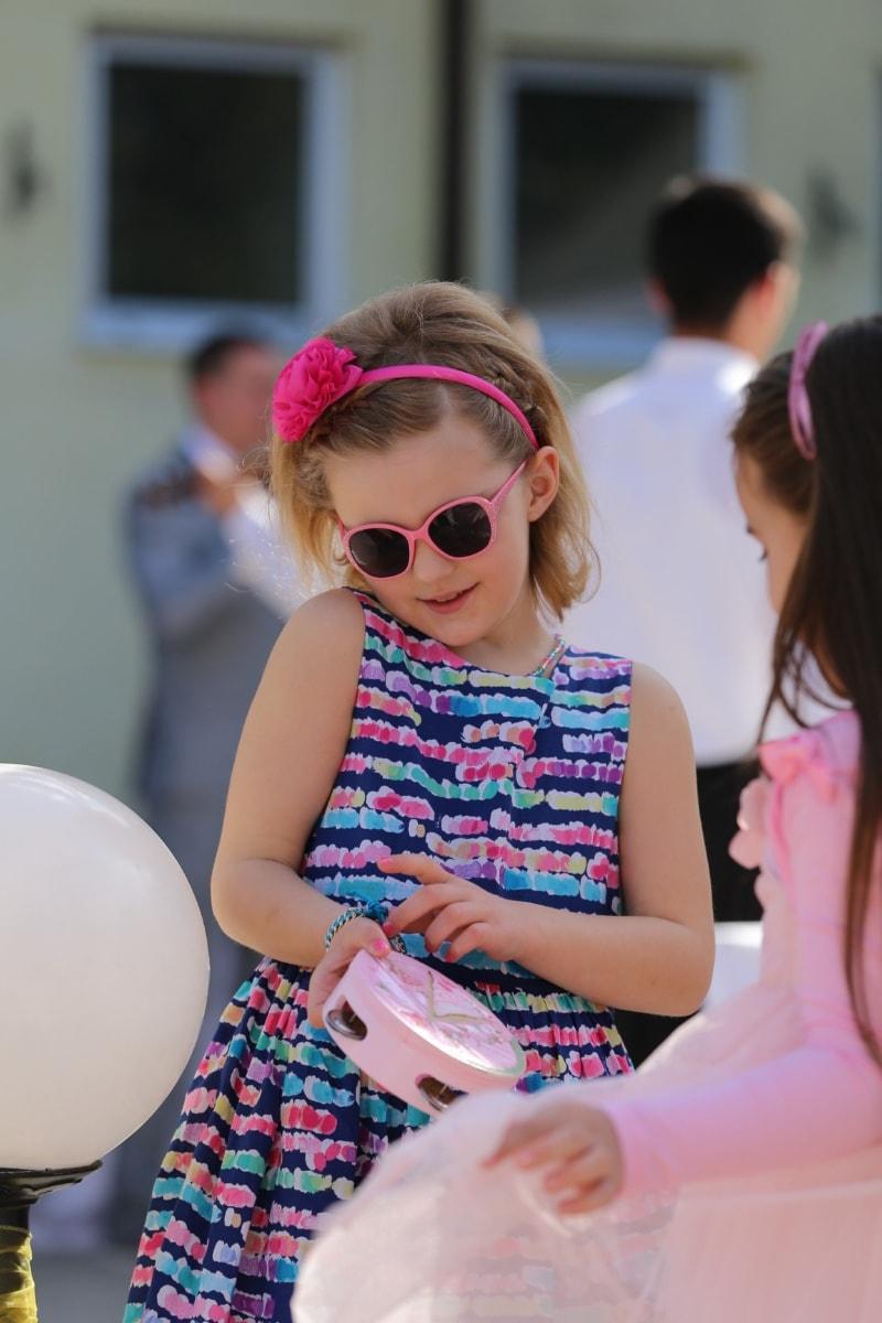 schoolgirl, sunglasses, pretty girl, playful, friendship, cheerful, friends, child, indoors, people