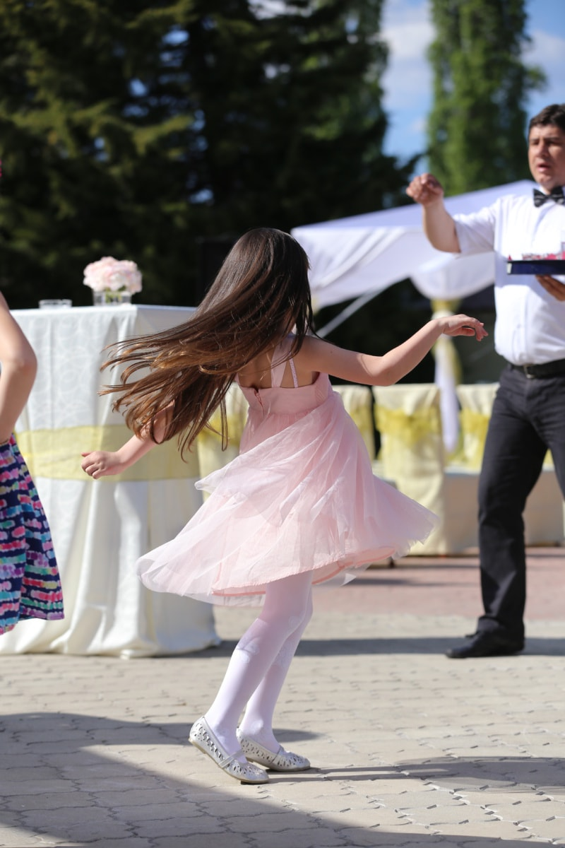 pretty girl, child, ceremony, dancing, bartender, person, wedding, dancer, woman, man