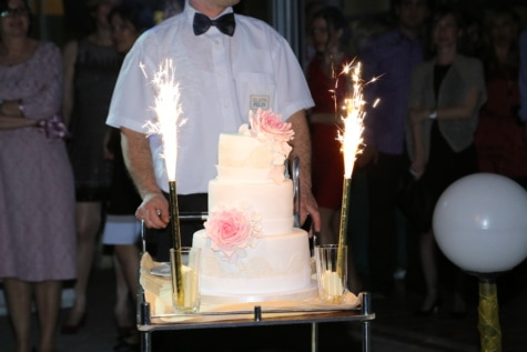 wedding cake, wedding, bartender, spark, ceremony, cake, people, crowd, celebration, man