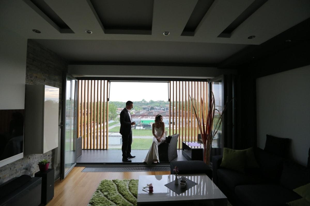 apartment, groom, bride, luxury, interior design, seat, window, indoors, room, furniture