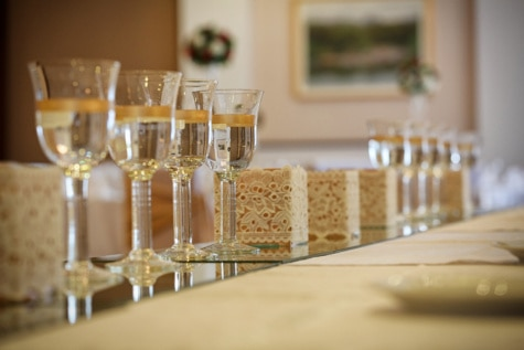 champagne, white wine, lunchroom, dining area, table, crystal, tablecloth, drink, elegant, liquid