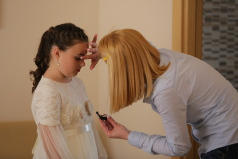 dress, princess, makeup, mother, child, daughter, preparation, celebration, outfit, together